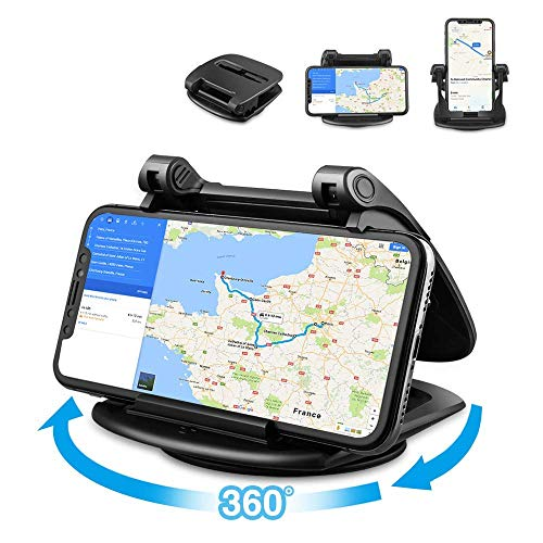 Phone Holder for Car, 360° Rotate Strong Sticky Gel Premium 3M Dashboard Car Phone Mount Cradle [Easy Opening & Neat Folding] for iPhone, Android Smartphones, GPS from Loncaster