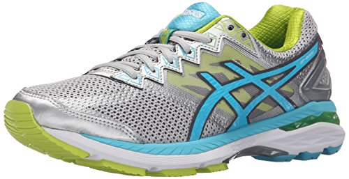 ASICS Women's GT-2000 4 Running Shoe, Silver/Turquoise/Lime Punch, 7 M US