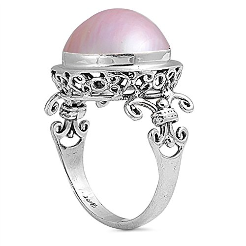 (Sterling Silver Bali Cream or Pink Freshwater Cultured Mabe Pearl Cocktail Ring 17mm (Size 5 to 11), 10 )