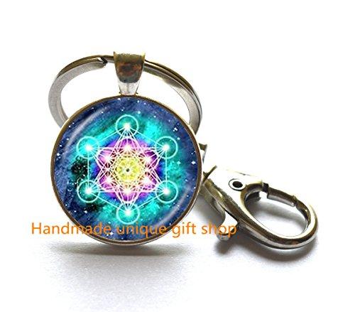 Fashion Keychain, Charm Keychain, Dainty Keychain,Metatron's Cube Keychain, Metatron's Cube Key Ring, Sacred Geometry Keychain, Gift Idea for Her, for Him-RC345