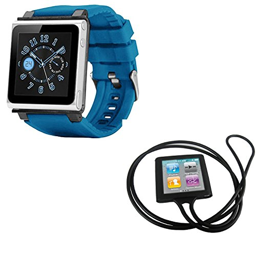 PiGGyB EZ Snap Watch Band Necklace Case Cover For Apple iPod Nano 6 6th Generation (Light Blue,Black)