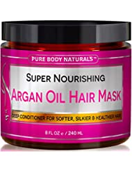 Argan Oil Hair Mask for Damaged Hair and Hair Growth by Pure Body Naturals, 8 Fl. Ounce