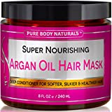 Hair Mask for Growth Pure Body Naturals Nourishing Argan Oil Deep Conditioning Hair Mask for Dry and Damaged Hair, 8 Ounce