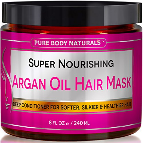 Pure Body Naturals Nourishing Argan Oil Deep Conditioning Hair Mask for Dry and Damaged Hair, 8 Ounce