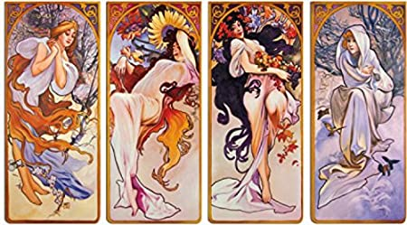 Set: Alphonse Mucha, The Four Seasons, 1896, 4 Parts Stretched Canvas Print (47x28 inches) + 1x Promotional 1art1 Home Decor Item