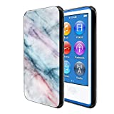 FINCIBO Case Compatible with Apple iPod Nano 7 (7th Generation), Flexible TPU Soft Gel Skin Protector Cover Case for iPod Nano 7 - Purple Green Pink Marble
