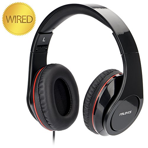 Active Noise Cancelling Over ear Headphones with HI-Fi,20Hours for music time travel and office computer, lightweight air travel -Wired Black from FMLOVES