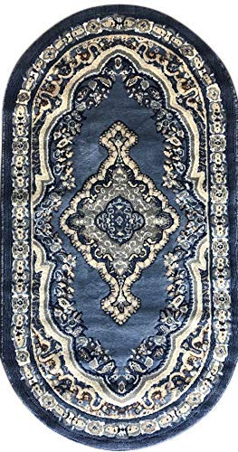 emirates Traditional Oval Oriental Door Mat Persian Rug Light Blue Brown & Beige Design 520 (31 Inch X 4 Feet 11 Inch) (Door Oriental Mats)