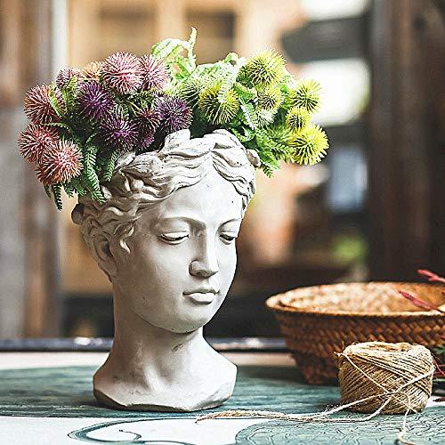zenggp Creative Portrait Retro Art Vase Cement Head Flower Pot Venus Greek Goddess Statue Vase Crafts - Art Greek Vases