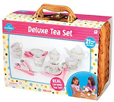 Deluxe Ceramic Tea Set with Basket by Toysmith