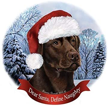 Dog in Santa Hat Porcelain Hanging Howliday Ornament Chocolate Lab