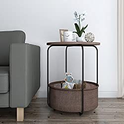 Lifewit 2-tier Round Side Table End Table Nightstand with Storage Basket, Modern Collection Espresso, 18.9 x 18.9 x 23.6 inches
