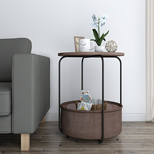 Round Storage - Lifewit 2-tier Round Side Table End Table Nightstand with Storage Basket, Modern Collection Espresso, 18.9 x 18.9 x 23.6 inches