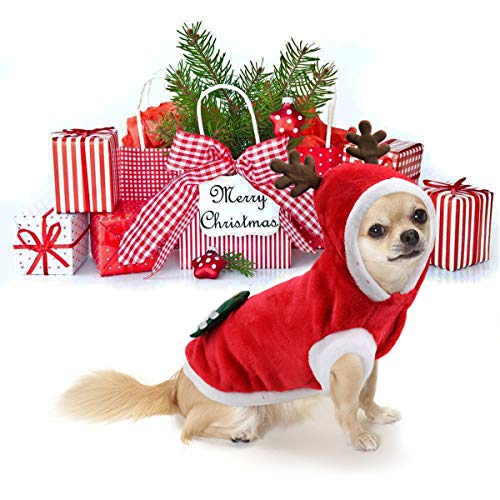 Idepet Dog Cat Christmas Coat Sweater Santa Claus Cartoon Reindeer Costume Soft Warm Coral Fleece Pet Hoodie Winter Thick Velvet Party Dress Up Hooded Clothes Jumpsuit Christmas Apparel for Puppy (L) -