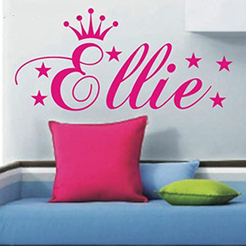Custom made Personalized Princess Crown Stars Vinyls Wall Art Sticker Adhesive Wall Mural Vinyl Stickers for Kids Rooms (Personalized Wall Art For Kids compare prices)