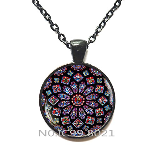 FashionNecklaceFashionPendant,Stained glass Rose Window Pendant, stained glass image, Cathedral Necklace, Rose Window Necklace, Gothic style, Catholic Christian Jewelry,A077