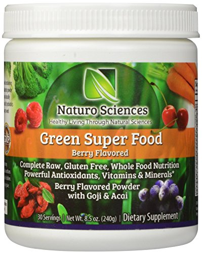 Green Food By Naturo Sciences - Complete Raw Whole Foods Nutrition - Powerful Antioxidants - Vitamins & Minerals with Goji and Acai - Amazing Berry Flavor 8.5oz (240g) 30 Servings