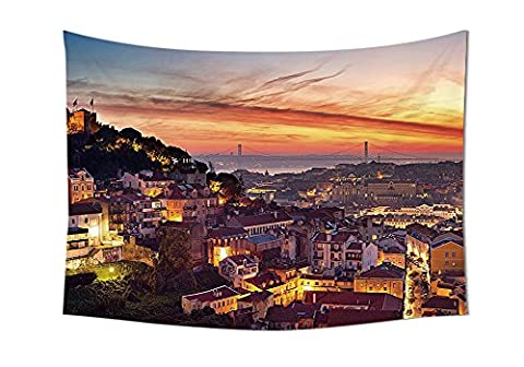 Cityscape Tapestry Wall Hanging Cityscape of Lisbon Portugal Traditional Seaside City Colorful Sky Sunset Evening View Bedroom Living Room Dorm Decor - Seaside Dreams Panel Bed