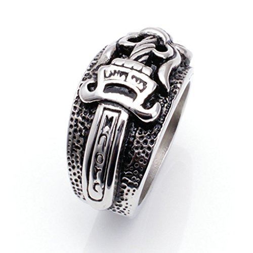 [Men's 316L Stainless Steel Domineering Sword Warrior Ring Silver Size 11] (Gay Star Wars Costume)