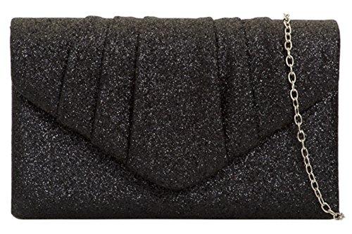 Girly HandBags Glitter Pleated Clutch Bag Black