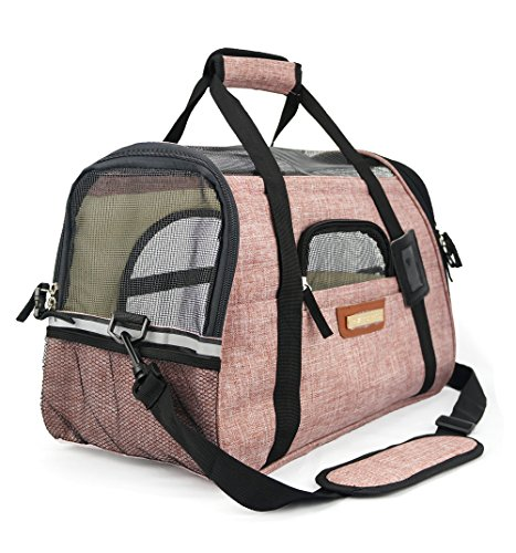 Premium Pet Travel Carrier, Airline Approved, Soft-Sided, Comes with Two Pet Mats, Perfect for Small Dogs and Cats (Blush Tan)