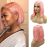 Pink Bob Human Hair Wigs Pre Plucked Full Glueless Lace Front Wig 10inch Middle Part Straight Short Frontal Bob Wig for Black Women Bleached Knots, Can be Styled