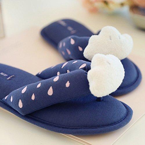 Fortuning's JDS Femmes Filles Pantoufles de Maison de Coton Nuages Blancs Tongs Bleu foncé forme plate Sandales à bout ouvert
