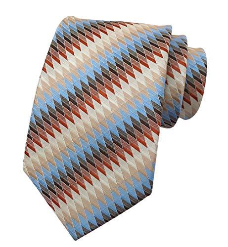 Brown Striped Woven Necktie - MENDENG Men's Blue Brown Striped Silk Woven Tie Business Wedding Necktie Ties
