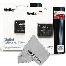 (2 Pack) Vivitar NB-11L / NB-11LH Ultra High Capacity 1200 mAh Li-ion Battery for CANON PowerShot SX400 IS, ELPH 340 HS 320 HS 130HS 110 HS 1150 HS, A2300 IS A2400 IS A2500 A2600 A3400 IS A3500 ISA4000 Cameras (Canon NB-11L / NB-11LH Replacement)