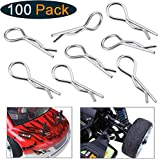 Hobbypark 100-Pack Universal 1/10th Scale Body Clips Pins Bend for Redcat Traxxas HPI Himoto HSP Exceed RC Car Parts Truck Buggy Shell Replacement