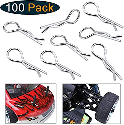amazon com: hobbypark 100-pack universal 1/10th scale body clips pins bend  for redcat traxxas hpi himoto hsp exceed rc car parts truck buggy shell