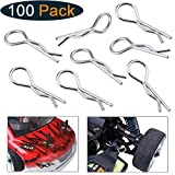 Hobbypark 100-Pack Universal 1/10th Scale Body Clips Pins Metal Bend End for Redcat Traxxas HPI Himoto HSP Exceed RC Car Parts Truck Buggy Shell Replacement
