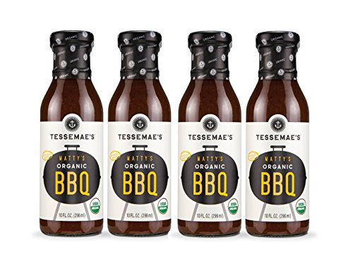 Tessemae's Organic BBQ Sauce 4 pack, Whole30 Certified, soy-free, dairy-free, gluten-free, vegan, no sugar added