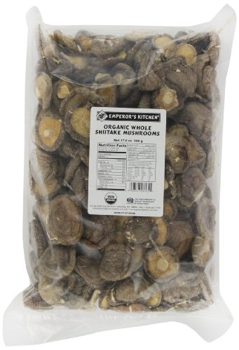 Emperor's Kitchen Organic Whole Shiitake Mushrooms, 17.6-Ounce Bag