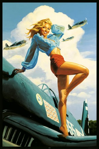Hildebrandt USA Sexy Pinup Girl Airplane Uso Military Rare Poster Print