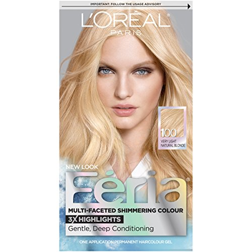 (L'Oréal Paris Feria Multi-Faceted Shimmering Permanent Hair Color, 100 Pure Diamond (Very Light Natural Blonde), 1 kit Hair Dye)