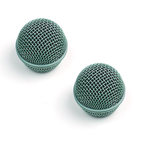 2x Replacement Mesh Microphone Grille For Shure SM58 565SD LC SV100 ,Green