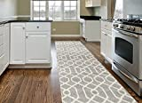 "Modern Trellis Pattern Gray 2' X 7' 2"" Area Rug"