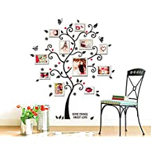 Photo Frame Family Tree Wall Decal With 3 Butterflies Flying Vinyl Removable Tree Sticker Art