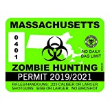 """RDW Massachusetts Zombie Hunting Permit - Color Sticker - Decal - Die Cut - Size: 4.00"""" x 3.00"""""""