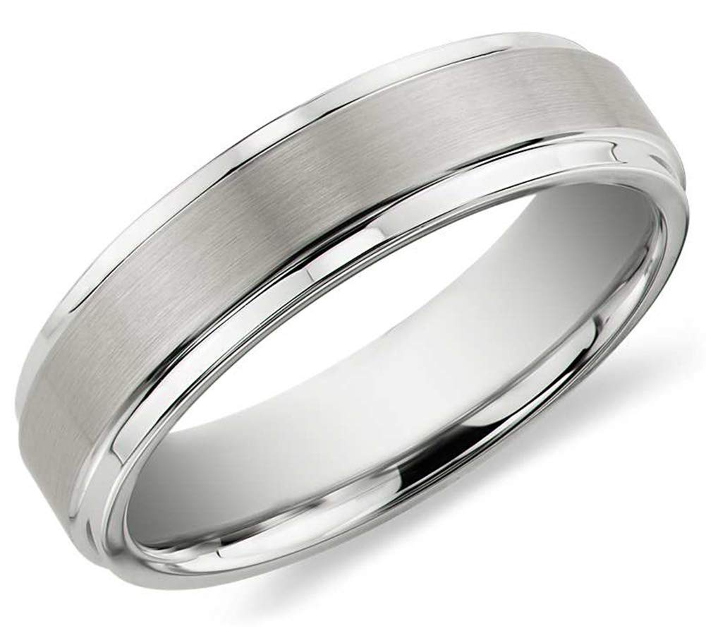 PINONLY 6mm Tungsten Carbide Wedding Band Engagement Ring for Men Women-Matte Finish Center-Rounded Smooth Interior Comfort Fit