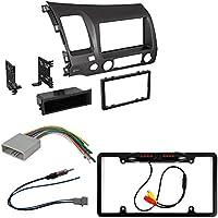 Honda Civic 2006 - 2011 Car Radio Stereo CD Player Dash Install Mounting Trim Bezel Panel Kit + Harness+Radio Antenna Adapter + Rear Camera