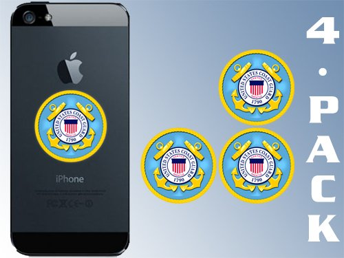 American Vinyl 4-Pack 1.5 inch Round Coast Guard Logo Cell Phone Stickers -Seal Small case USCG