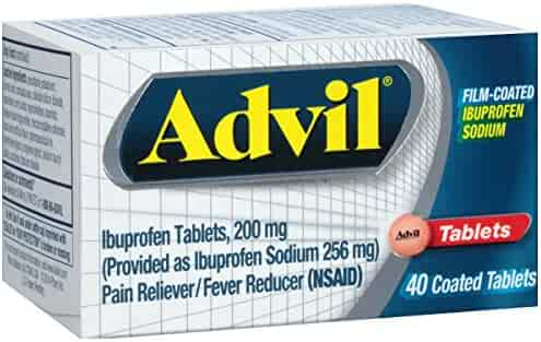 Advil Film-Coated (40 Count) Pain Reliever / Fever Reducer Caplet, 200mg Ibuprofen, Temporary Pain Relief
