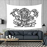 smallbeefly Mystic Tapestry Wall Tapestry Majestic Religious Character in Folk Dressing Spiritual Symbol of Soul Pattern Art Wall Decor 60''x51'' Black and White