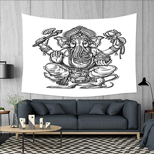 smallbeefly Mystic Tapestry Wall Tapestry Majestic Religious Character in Folk Dressing Spiritual Symbol of Soul Pattern Art Wall Decor 60''x51'' Black and White by smallbeefly