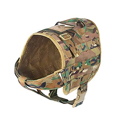 Feliscanis Tactical Dog Training Vest Molle Compact Vest Harness Nylon Pet Vest
