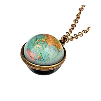 Elegants Womens Bracelets Moon Necklace Glow in The Dark Necklace Galaxy Planet Alloy Glass Cabochon Pendant Necklace Chain Jewelry Accessories for Women