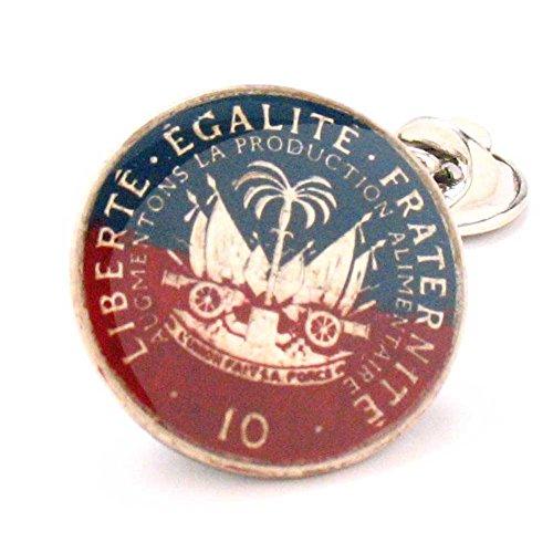Haiti Coin Tie Tack Lapel Pin Suit Flag Haitian Ayiti Bijou Mare tack lapli Caribbean Kostim Drapo Country Cool Unique Antique Vintage