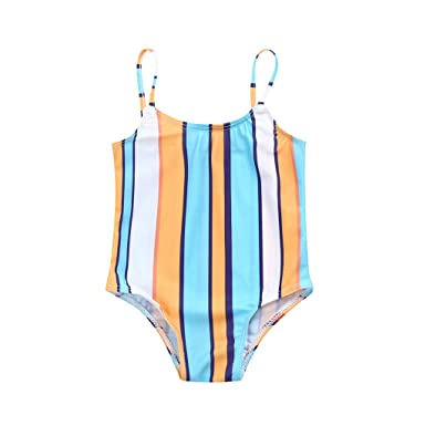 03d4d35803a Amazon.com: Boomboom 2019 Baby Girls Striped Straps Swimsuit Bathing Suits:  Clothing